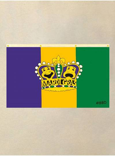 3 x 5 Purple, Gold and Green Flag with Comedy and Tragedy Crown
