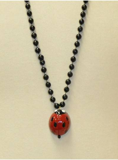 "36"" 10MM Ladybug Strung on Black Beads"