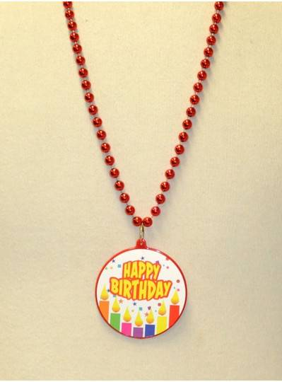 """33"""" 7.5MM Red Happy Birthday Decal Bead"""