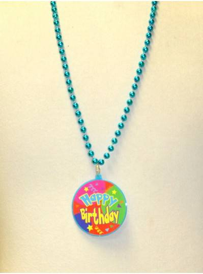 "33"" 7.5MM Blue Happy Birthday Decal Bead"