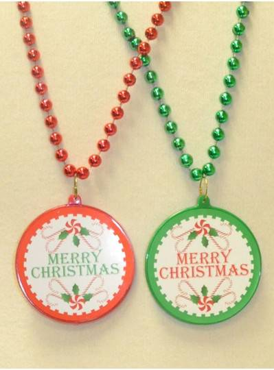 "33"" Red and Green Merry Christmas Decal With Matching Beads"