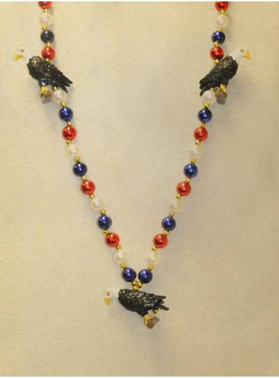 """40"""" Red, White and Blue Beaded Necklace With 3 Eagles"""