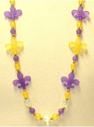 """38"""" 12MM Purple and Gold Frosted Fleur De Lis Beads Mardi Gras Beads"""