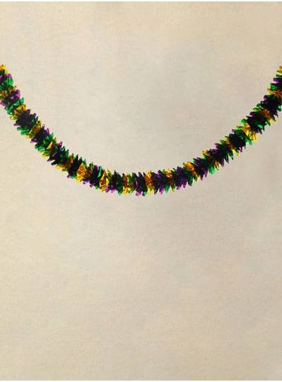 9 Purple, Green and Gold Tube Foil Mardi Gras Garland