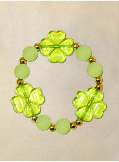 "8"" Elastic Bracelet with 3 Green Clover, Frosted Green Beads and Gold Spacers"