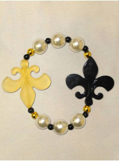 "8"" Elastic Bracelet with Black and Gold Fleur De Lis, Pearl Beads and Black and Gold Spacers"