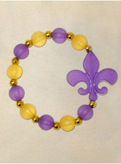 "8"" Elastic Bracelet with Frosted Purple Fleur De Lis, Frosted Purple and Yellow Beads with Gold Spacers"