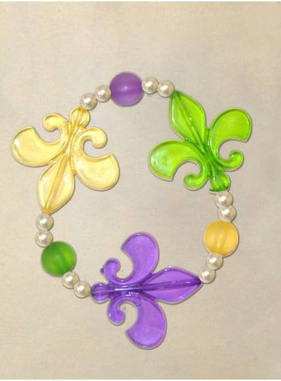 "8"" Elastic Bracelet with Purple, Green and Gold Fleur De Lis, and Pearl Beads Spacers"