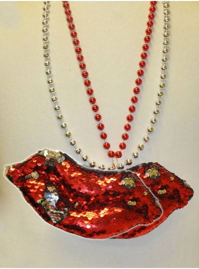 """36"""" 10MM Red and Silver Sequin Lips on Red and Silver Metallic Beads"""