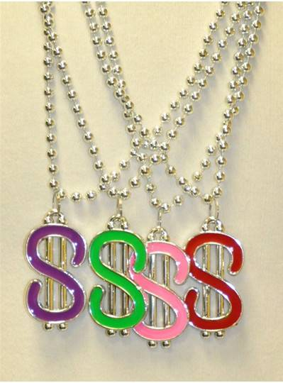 """33"""" 7MM Metallic Silver Beads with Dollar Symbols in Assorted Colors"""