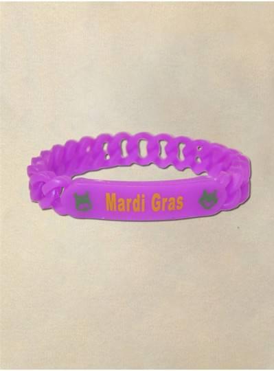 Purple Silicone Mardi Gras Bracelet