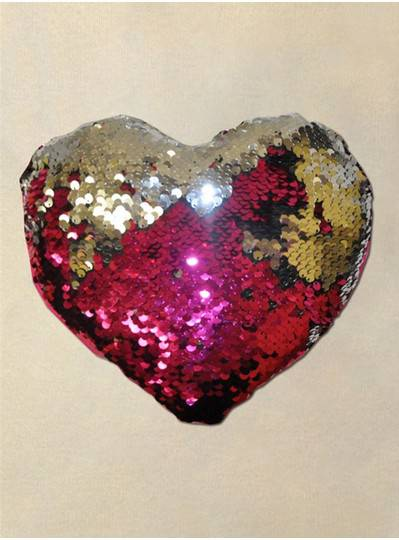 """Plush Dolls & Toys - 8"""" Pink and Silver Sequin Heart Pillow"""
