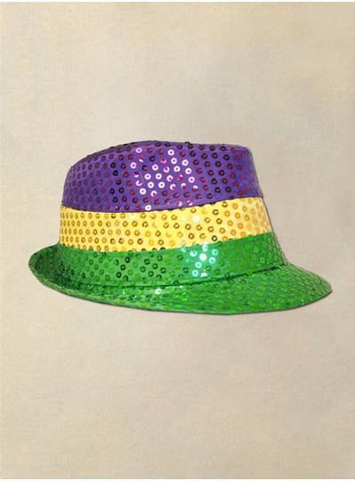 Purple, Green and Gold Mardi Gras Sequin Fedora