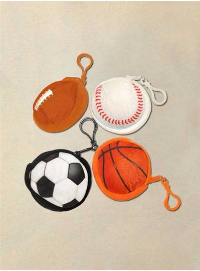 Assorted Sport Ball Coin Purse and Keyring