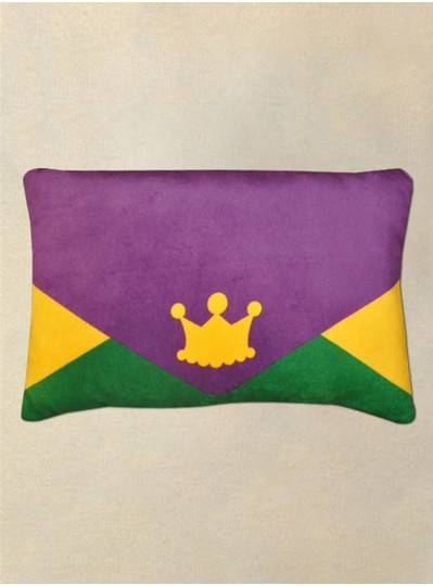 Purple, Green & Gold Purse Pillow With Crown