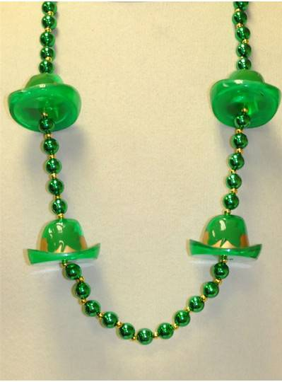 """Irish Themes 38"""" Handstrung Green Beads with Gold spacer and 4 Derby Hats"""