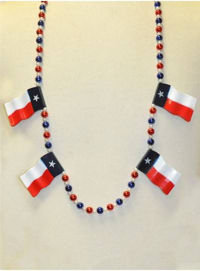 """42"""" 4 Red, White & Blue Texas State Flag Beads"""