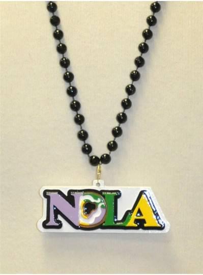"33"" 7.5MM Black Beads with NOLA, King Cake Design"