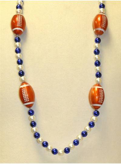"42"" Blue and White Beads with 4 Blinking Footballs with Stripes"