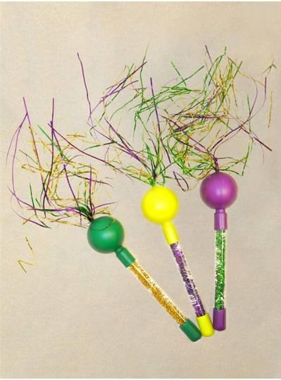 Mardi Gras Tinsel Maracas in Purple, Green and Gold