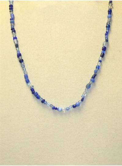 Handstrung Mixed Blue Glass Beads