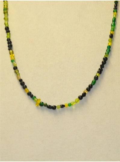 Handstrung Mixed Green Glass Beads