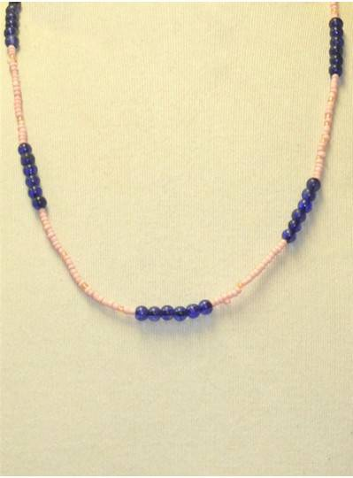 Handstrung Blue and Pink Glass Beads