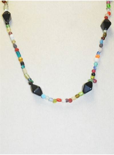 Handstrung Multicolored with Black Glass Beads