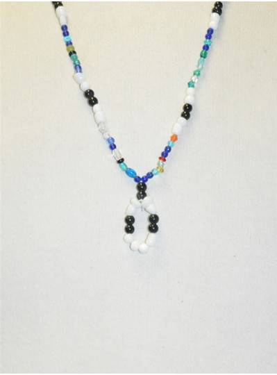 Handstrung Multicolored with Black & White Glass Beads