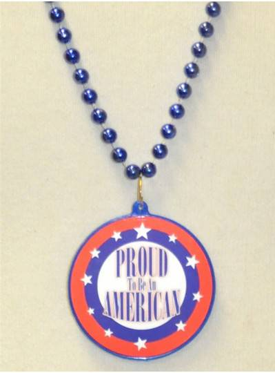 "33"" Proud To Be An American on Royal Blue Bead"