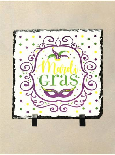 "7.5"" x 7.5"" Happy Mardi Gras Slate Trivet"