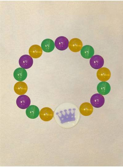 Purple, Green and Gold Light Up Crown Bracelet