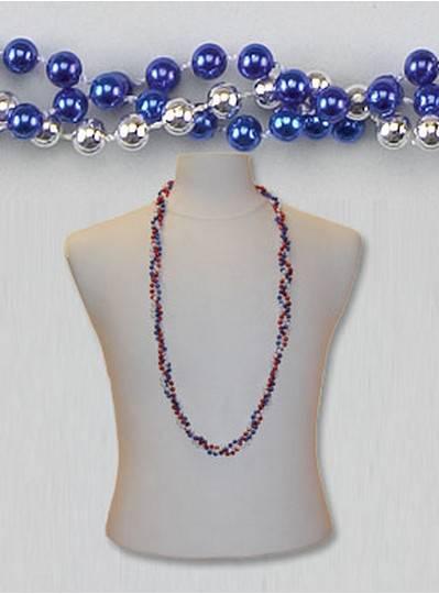 "42"" Twist Beads Royal Blue & Silver"