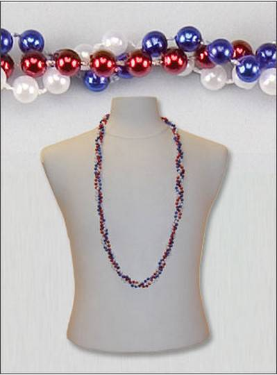 "42"" Twist Beads Red, White & Blue"