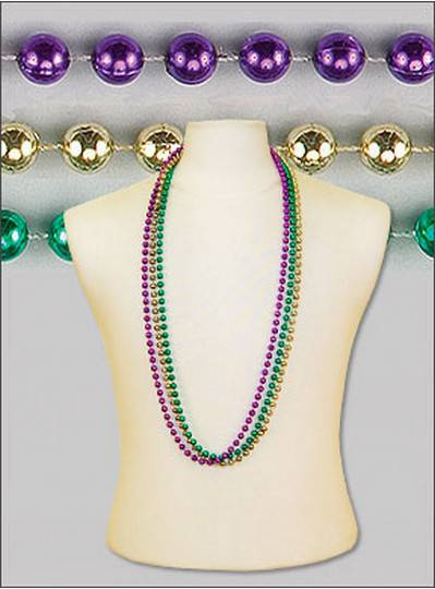 "42"" 8mm Round Metallic Purple, Green & Gold"