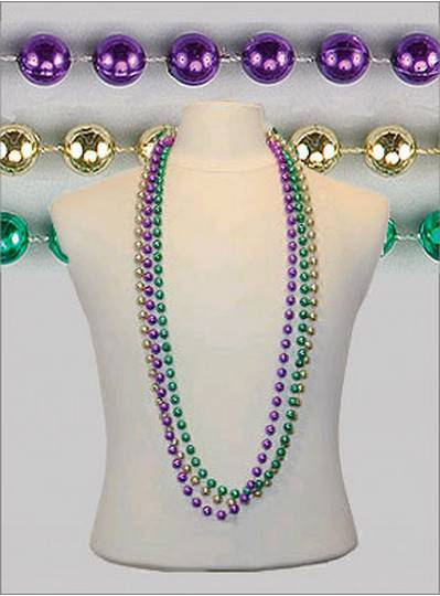 "48"" 10mm Round Metallic Purple, Green & Gold"
