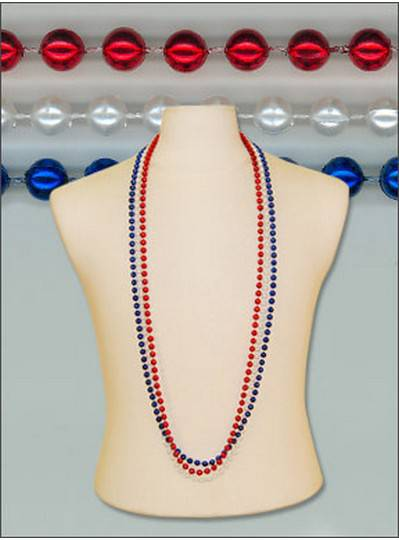 "48"" 8mm Round Metallic Red, White & Blue"