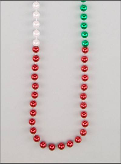 "48"" 12mm Round Metallic Red, White & Green Section"