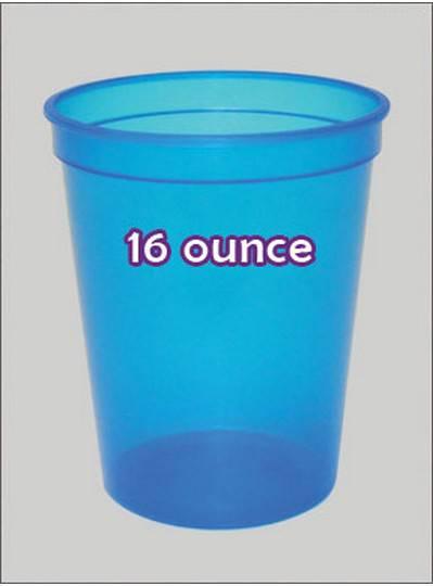 Plastic Cups 16 Ounce Blue C-Thru
