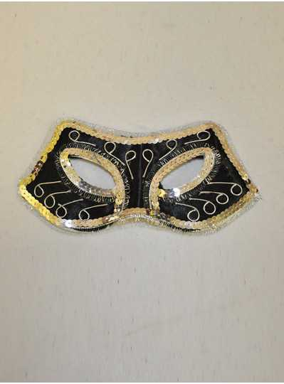 Feather Masks - Black & Silver Half Mask