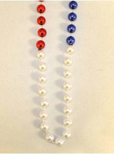 "48"" 18mm Red, White & Blue Segmented Beads"