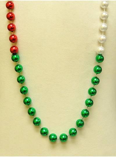 "48"" 18mm Red, White & Green Segmented Beads"