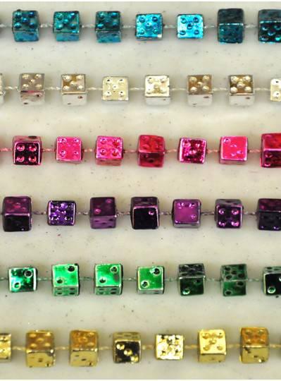 """Gaming & Casino - 33"""" Assorted Metallic Dice Beads"""