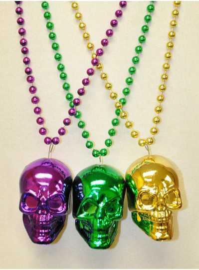 Halloween Beads - Purple, Green & Gold Skulls