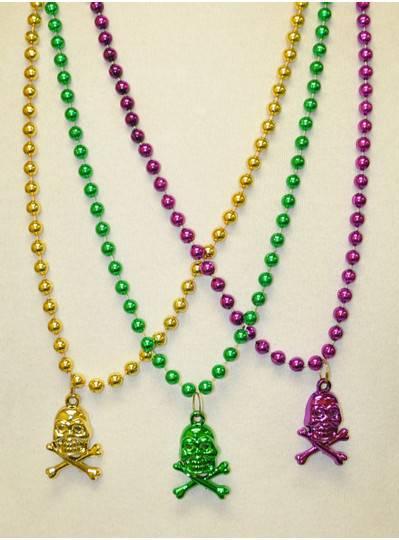 Halloween Beads - Purple, Green & Gold Crossbones