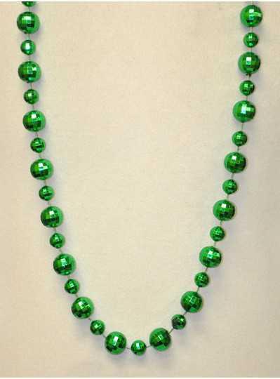 "48"" 20mm & 14mm Globe Metallic Green Bead"