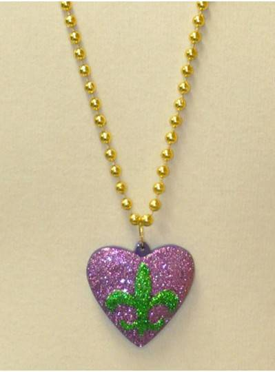 New Orleans Themed Glitter Heart with Fleur de Lis