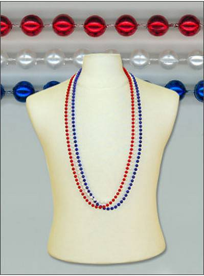 Patriotic Round Metallic Red, White & Blue Beads