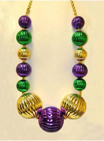 Mardi Gras Purple, Green & Gold Pumpkin Beads