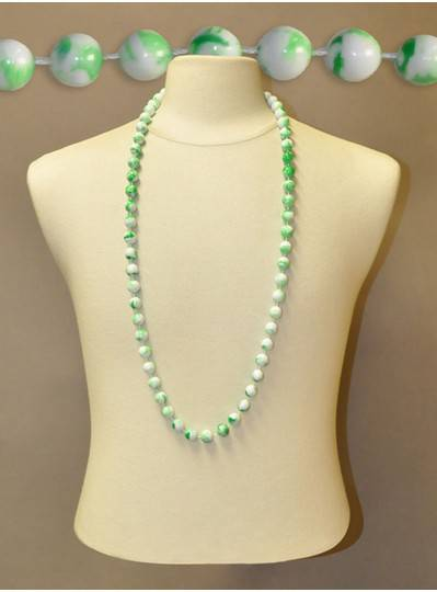 "42"" Inch 14mm Green & White Marble Beads"
